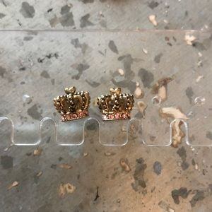 Juicy Couture Gold&Pink Rhinestone Crown Earrings